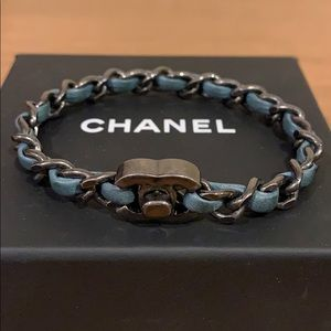 CHANEL Chain and Turquoise Lambskin Bracelet